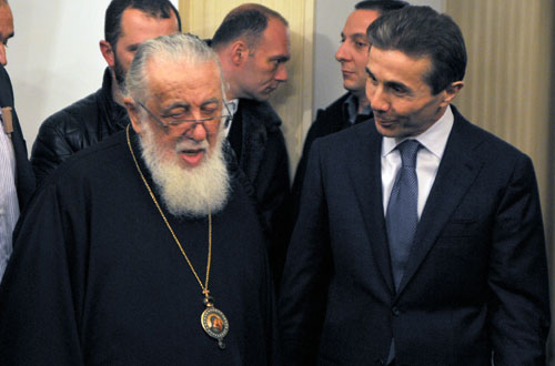 Patriarch of the Georgian Orthodox Church Ilia II and Bidzina Ivanishvili after the meeting in the Patriarchate on November 15. Photo: InterPressNews